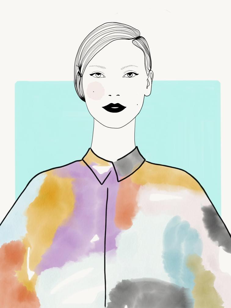 Rocio Vigne black line 2 color modna ilustracija