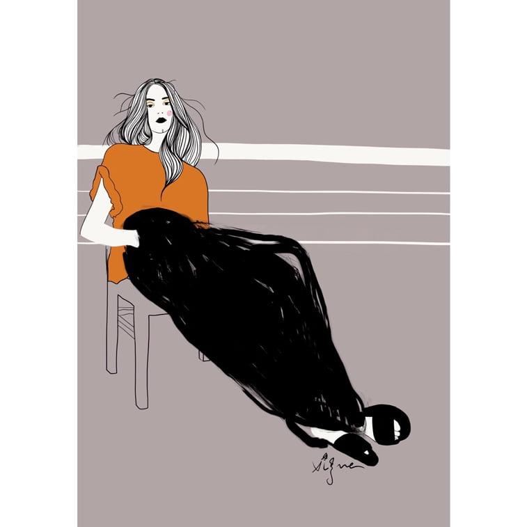 Rocio Vigne black oker 2 modna ilustracija