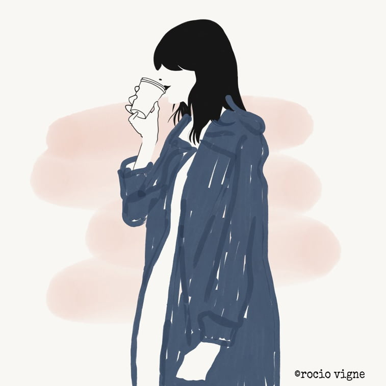 Rocio Vigne blue coat modna ilustracija