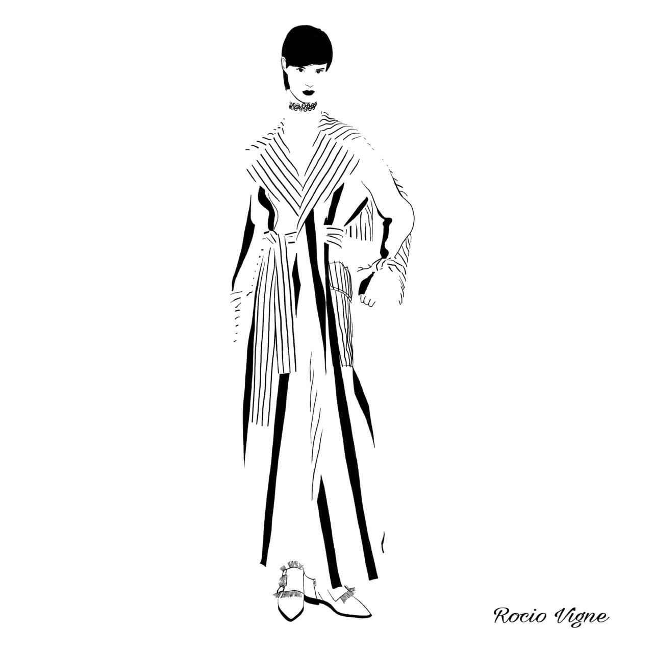 Rocio Vigne grey coat 2 modna ilustracija