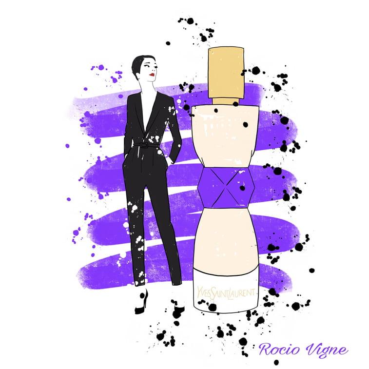 Rocio Vigne red lipstick parfume modna ilustracija