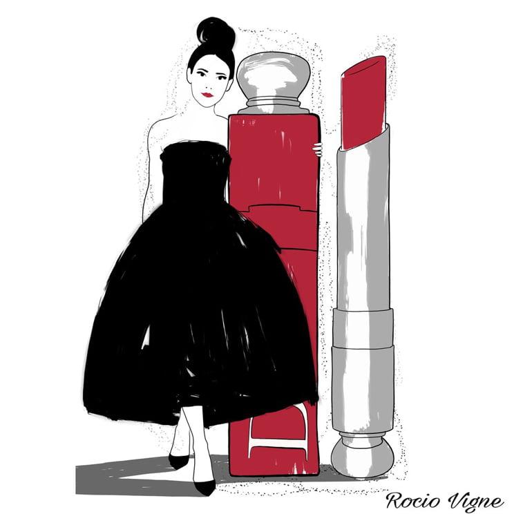 Rocio Vigne red lipstick modna ilustracija