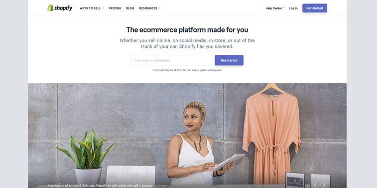 Shopify pocetna stranica