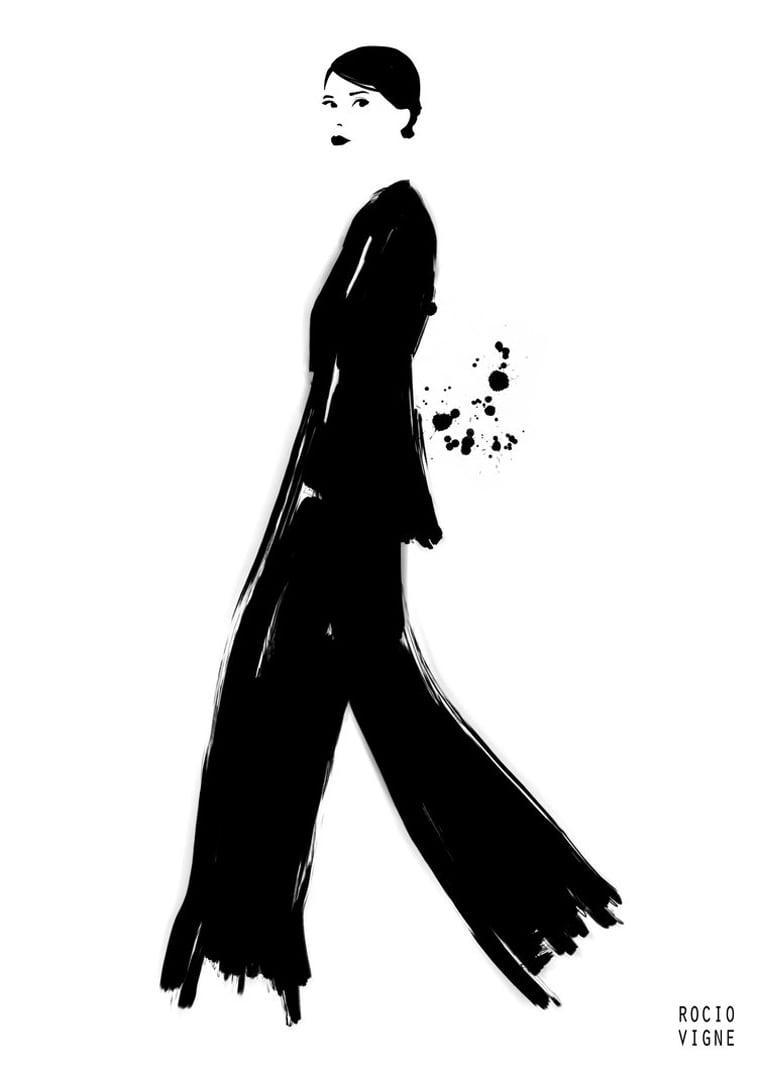 modne ilustracije black suit web Rocio Vigne