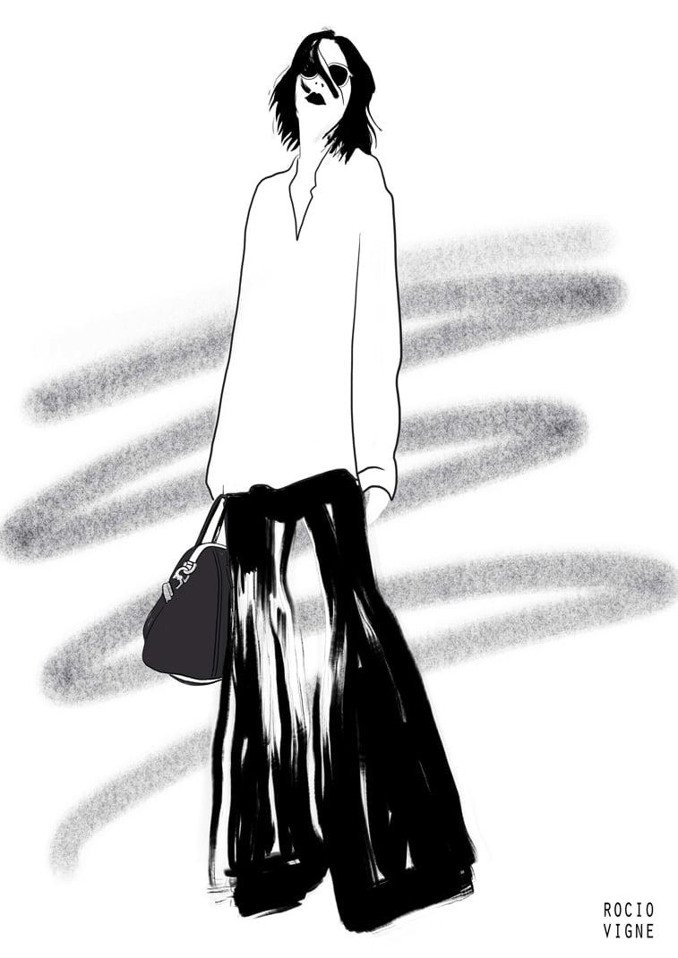 modne ilustracije black trousers web Rocio Vigne