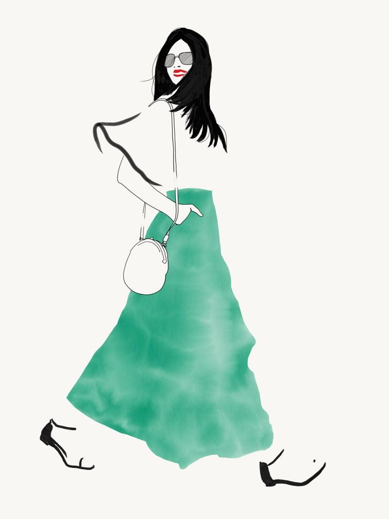 modne ilustracije half black coat Rocio Vigne green