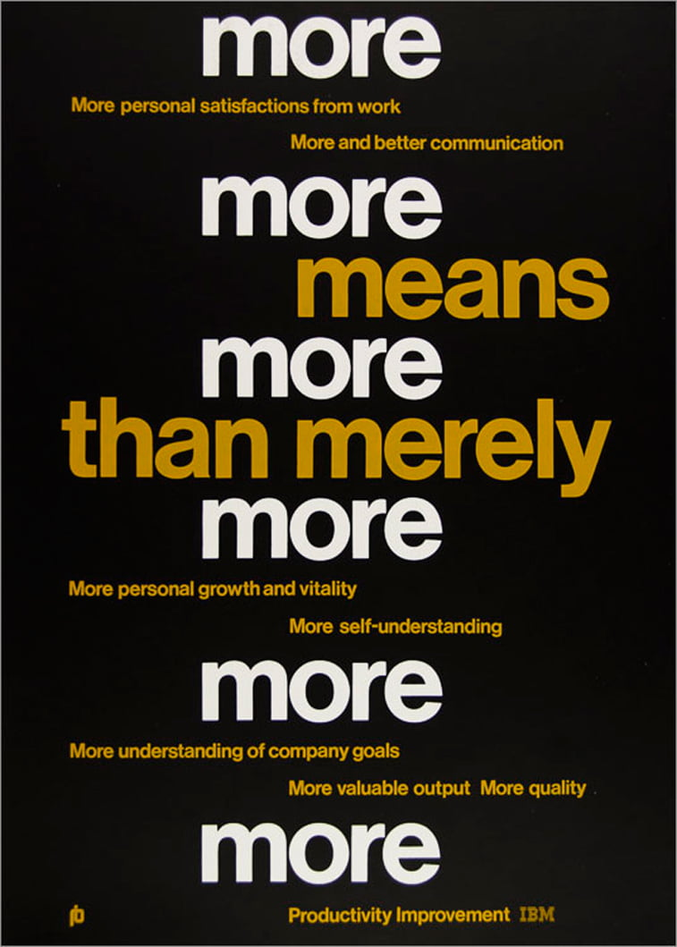 IBM plakati personal satisfcation tipografija bela slova zuta slova crna pozadina