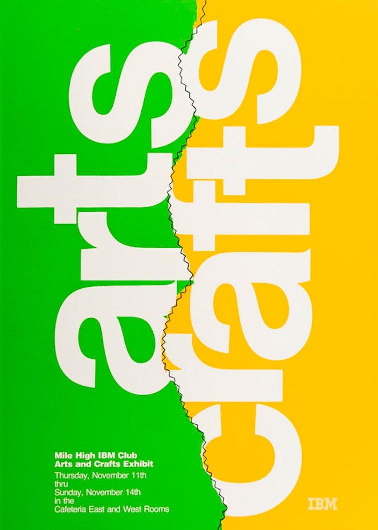 IBM plakati arts crafts zuto zelena
