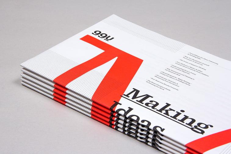 99u magazine red white tipografija print dizajn