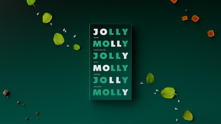 Jolly Molly chocolate packaging green white