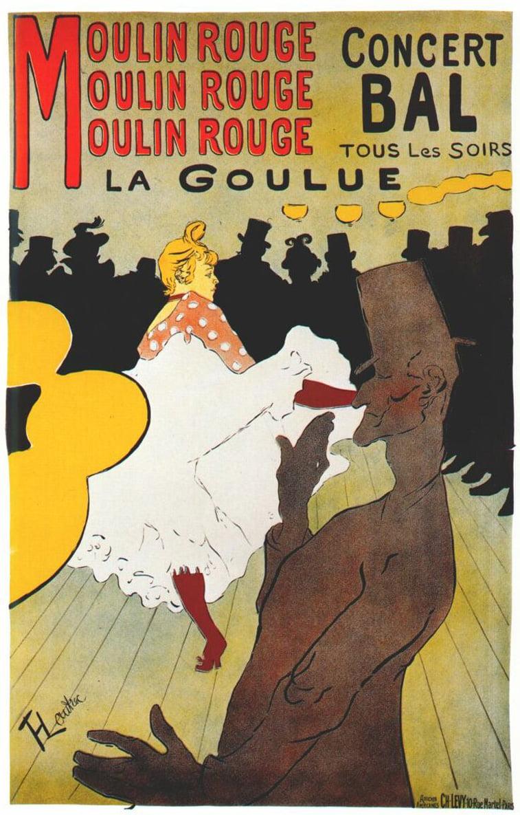 lautrec poster moulin rouge la goulue art nouveau stil