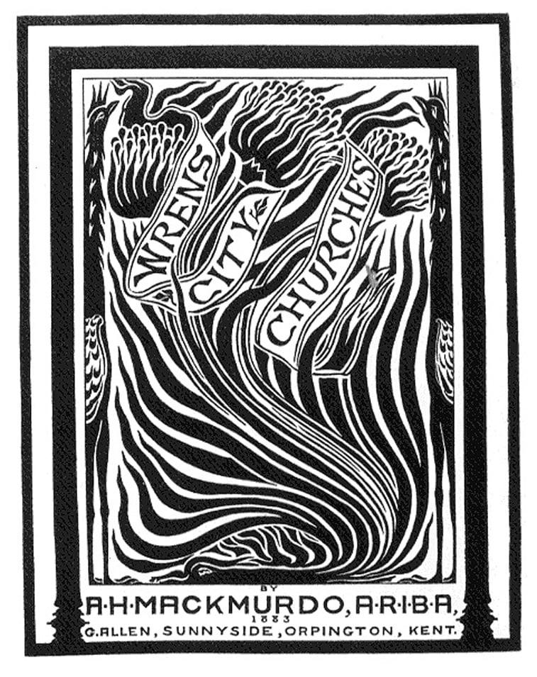 arthur mackmurdo wren cover art nouveau stil drvorez negativni prostor