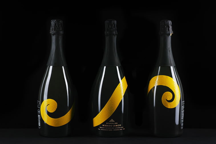 sparkling wine packaging elegant black yellow