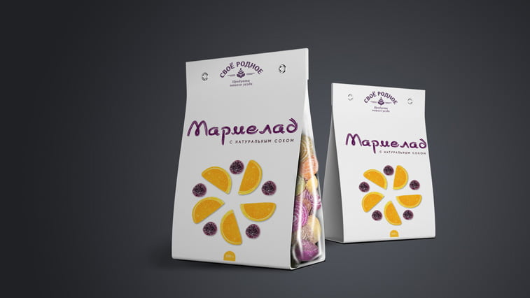 candy packaging design purple orange dichromatic