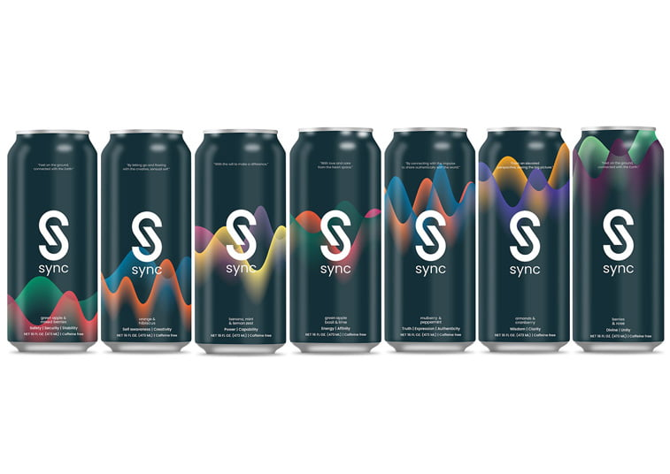 drink cans dichromatic design waves