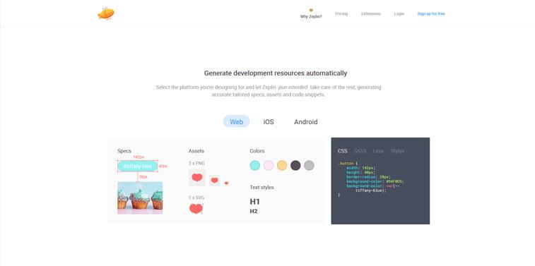 Zeplin design collaboration tool