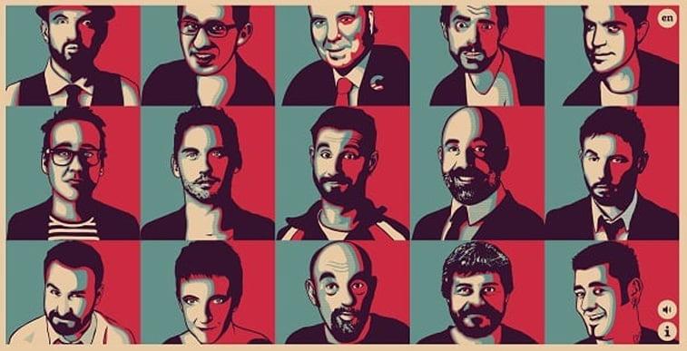 website humoristas pop art style portraits