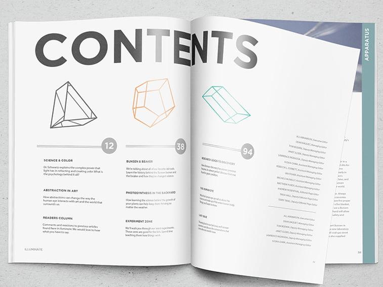 illumintae magazin layout spread sadrzaj tipogrfaija font