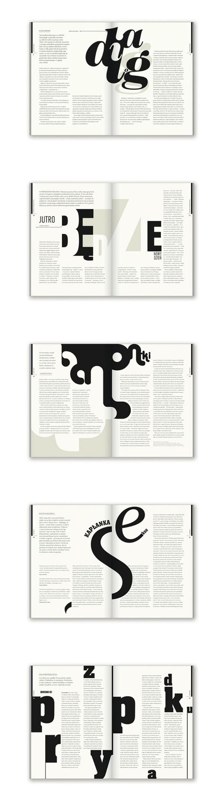 dizjan casopisa spread layout crno belo tipografija