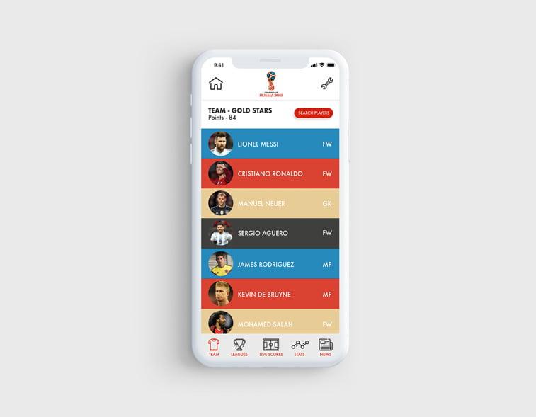 fantasy footbal app mobilna apliakcija ui dizajn