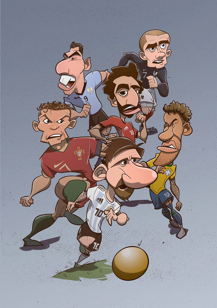 football players character illustration karikatura