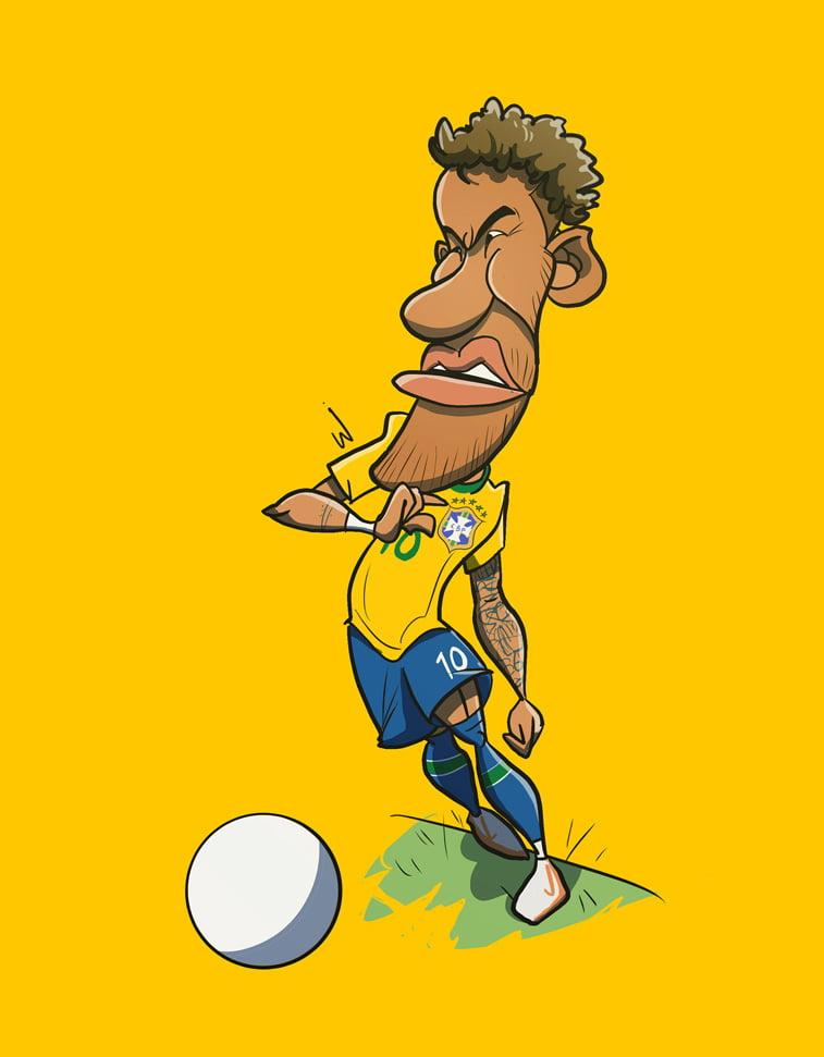 ilustracija karikatura neymar junior