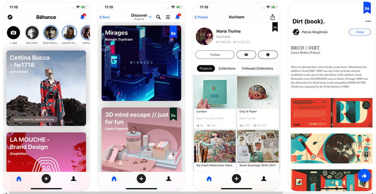 behance ios app interfejs