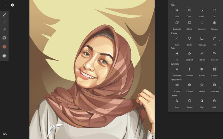 infinite design aplikcija ilustracija devojka