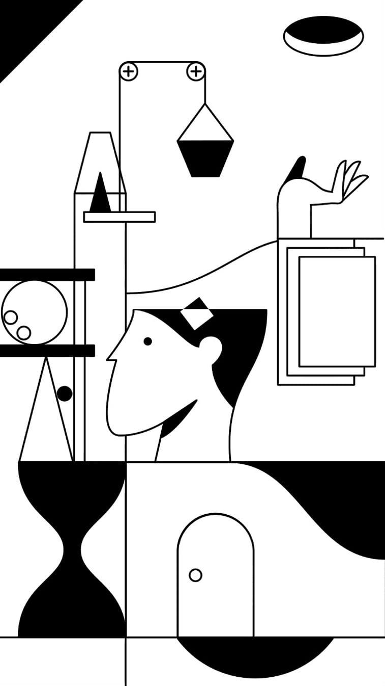 kontrast igrica ilustarcija glava objekti