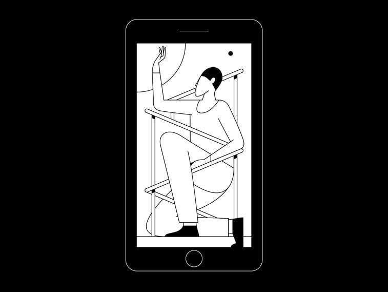 kontrast igrica covek ilustracija telefon