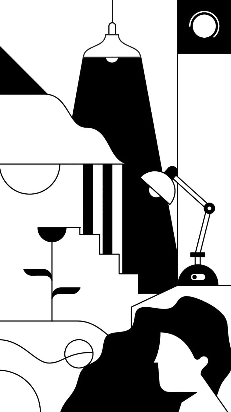 kontrast mobilna igra ilustracija lampa zena