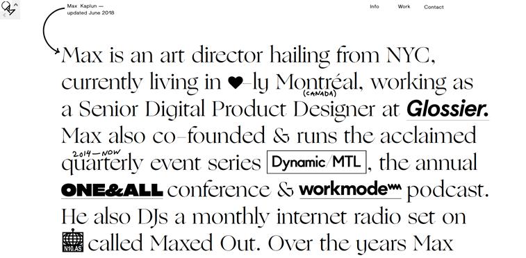 max kaplun portfolio sajt tekst