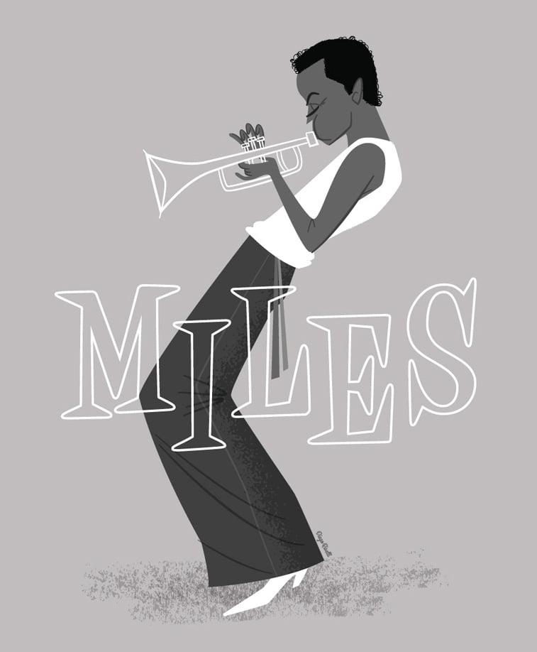 miles davis truba ilustracija