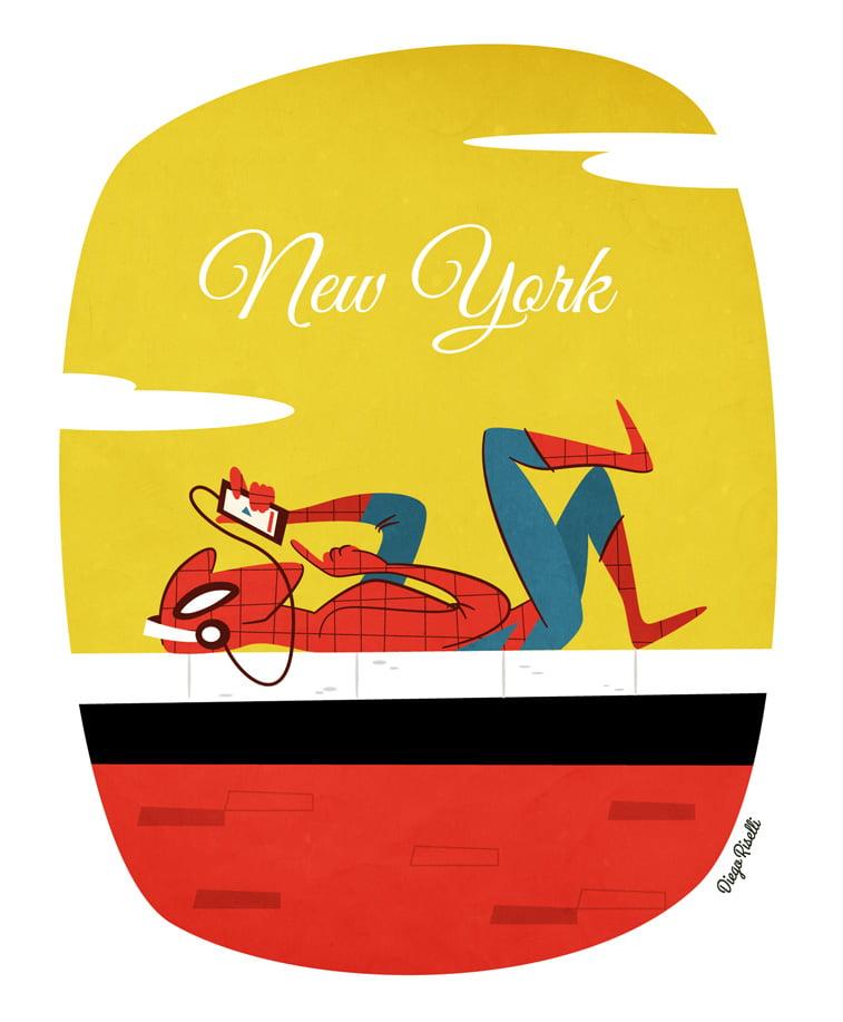 new york ilustarcija spiderman smartphone