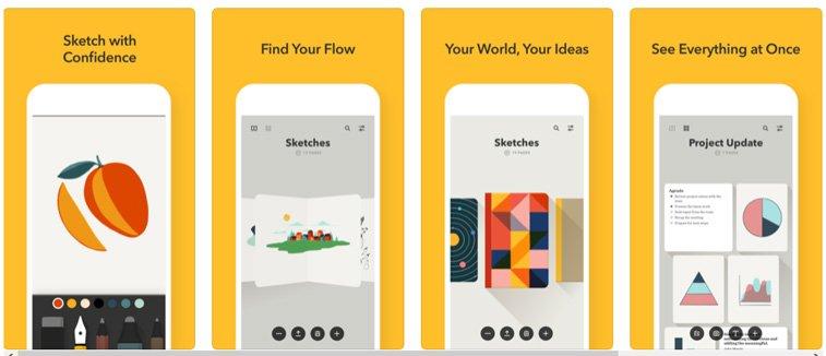 paper aplikacija ilustracije interfejs