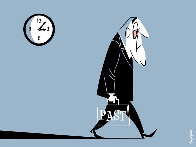 ilustarcija proslost u torbi vreme covek