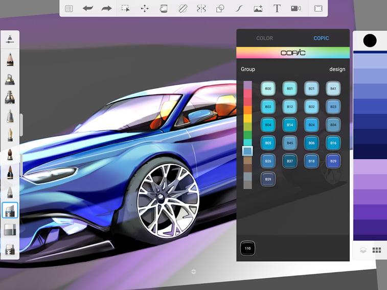 Sketchbook aplikacija automobil crtez
