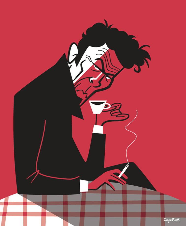 ilustracija tom waits kafa cigareta