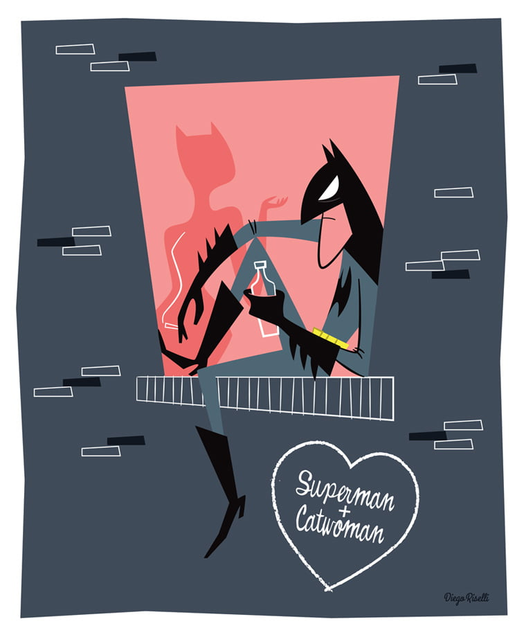 betmen supermen catwoman ilustracija