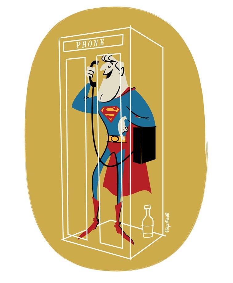 supermen govornica telefon ilustracija
