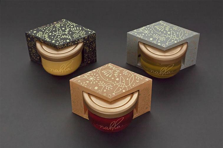 nahla organic honey packaging design 2