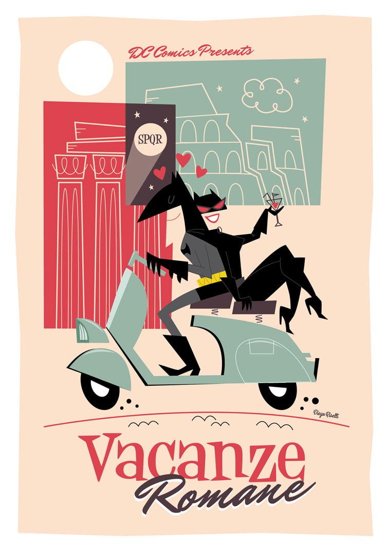 praznik u rimu betmen catwoman vespa ilustracija