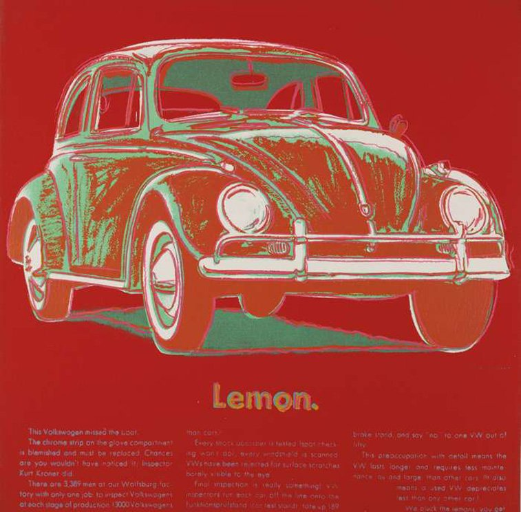 Volkswagen ad by andy warhol VW beatle