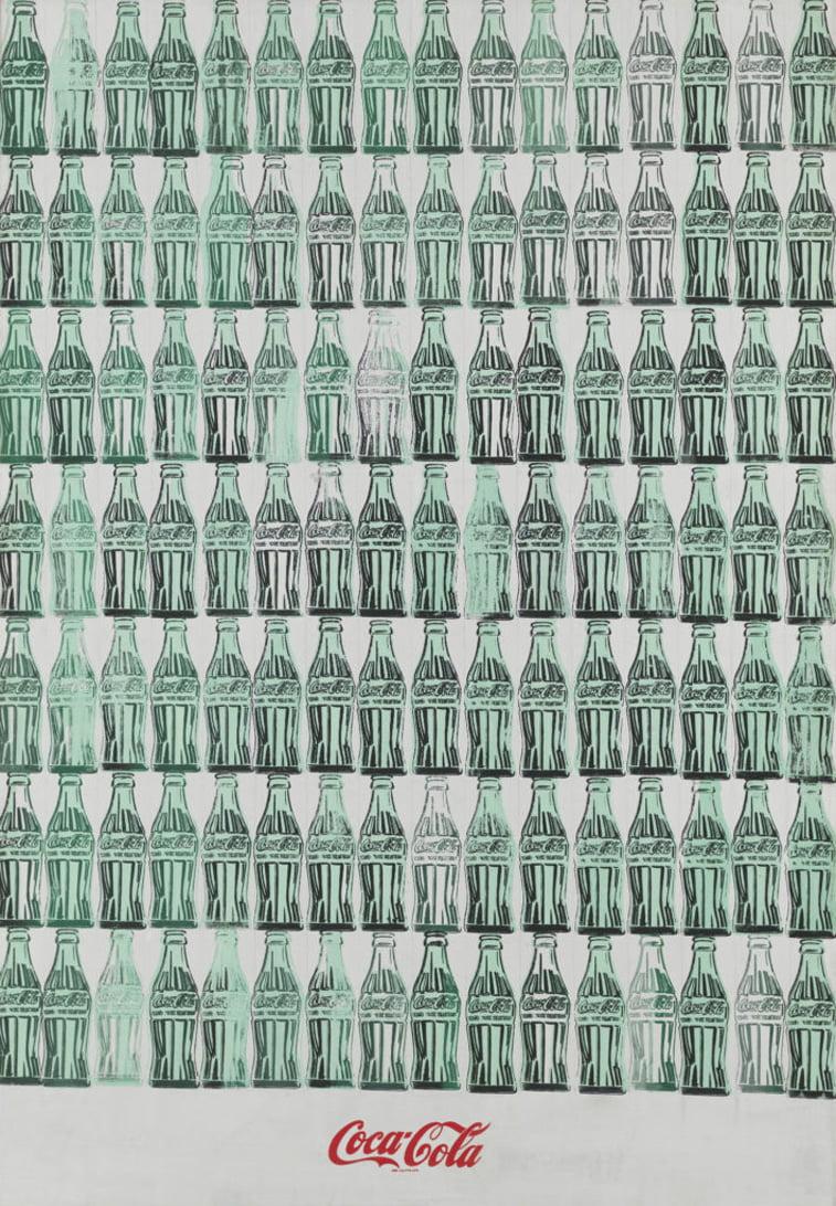 coca-colla bottles green coca-cola ad by andy warhol