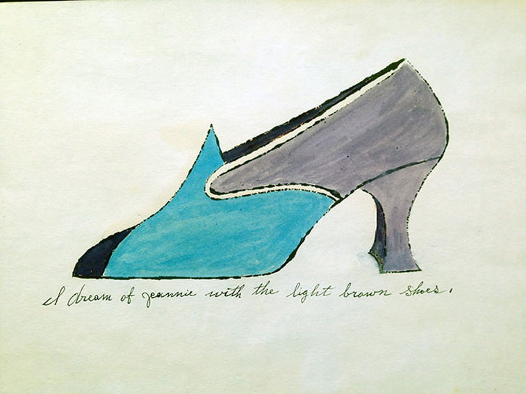 shoe drawing I Dream of Jeannie by andy warhol