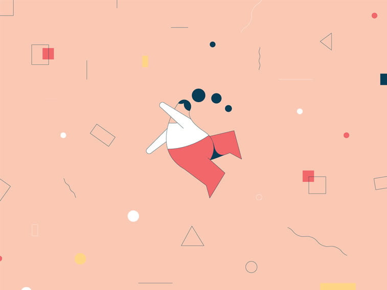 anxiety illustration girl falling down geometric shapes