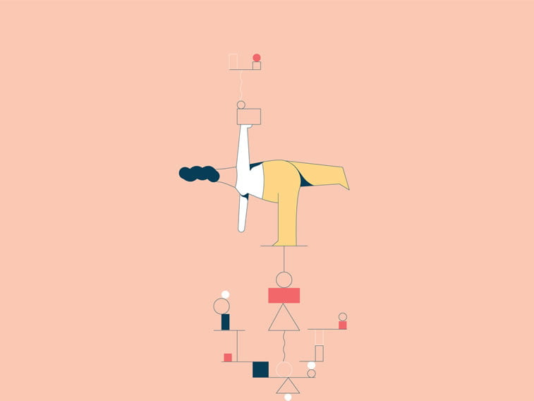 anxiety illustration girl balancing geometry