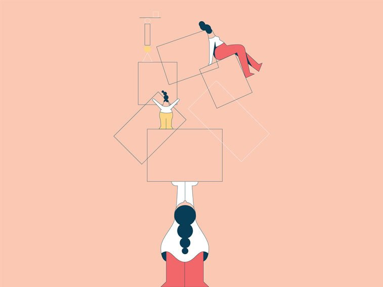 anxiety illustration girls holding on geometric shapes