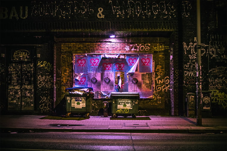 hamburg nocu fotografija ulica kontejneri posteri