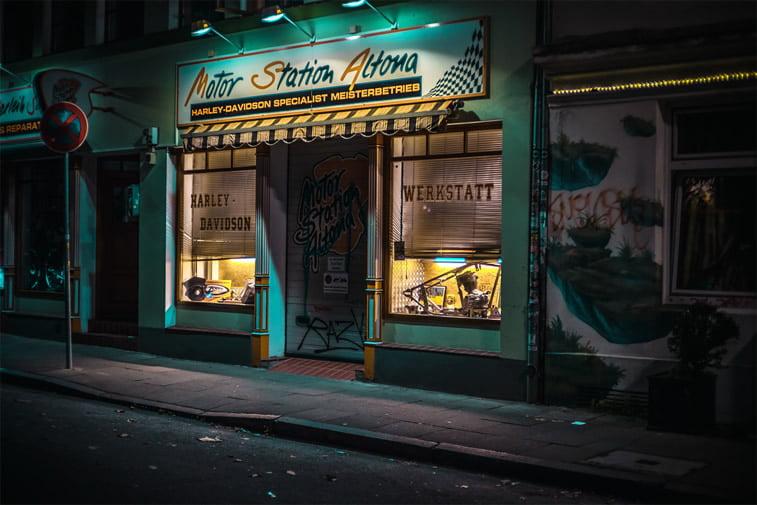 hamburg nocu fotografija motor radionica harley davidson